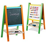white erase board easel - Jacootoys Standing Art Easel Two-Sided Board with Magnetic Alphabet and Numbers