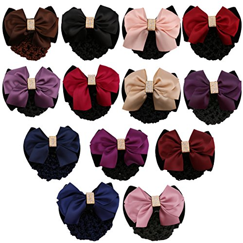 Driew 13PCs Women Hair Snood Net Bow Decorate Barrette Hair Net Bun Cover Clips Styling Accessories