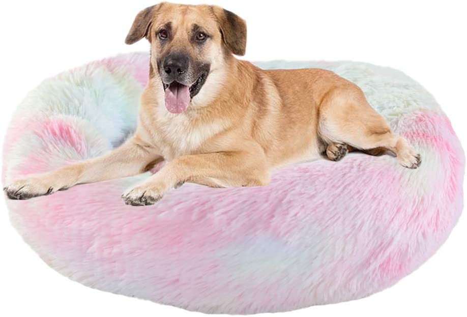 Calming Bed for Dogs Cats - Faux Fur Donut Cuddler Dog Beds for Medium Dogs, Modern Soft Plush Round Pet Bed, Indoor Heated Dog Beds Marshmallow Cat Bed, Gifts for Dogs Cats