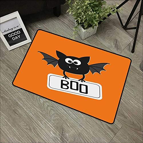 Pool Anti-Slip Door mat W35 x L59 INCH Halloween,Cute Funny Bat with Plate Boo Fangs Scare Frighten Seasonal Cartoon Print,Orange Black White Natural dye Printing to Protect Your Baby's Skin -