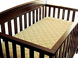 Bamboo Crib & Toddler Mattress Protector Waterproof Quilted Fitted Baby Mattress Pad and Changing Pad Liner. Light Yellow