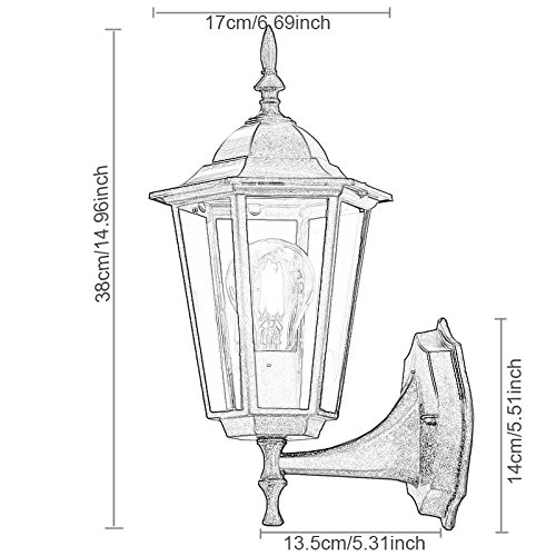 ZHMA Outdoor Wall Lamp Retro Garden Porch Lights Black Hallway E27 Vintage Pendant For Balcony