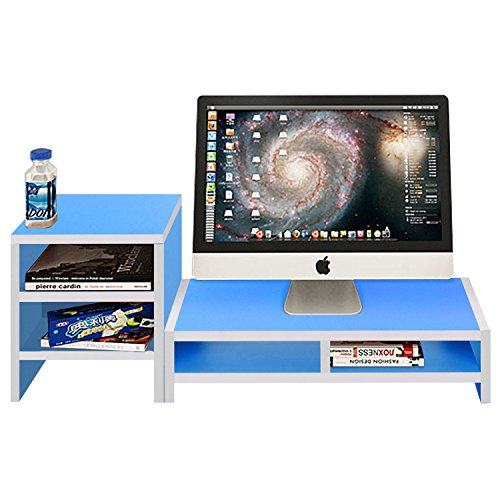 Hello Laura - Computer Monitor Stand 100% Solid Wood Two Adjustable Shelves Waterproof Desk Organizer Cervical Spine Protect Laptop Standing   Lake Blue ()