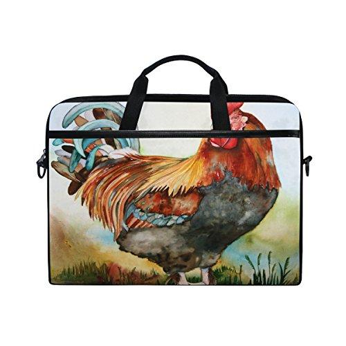 Laptop Bag for Men Women Canvas Shoulder Messenger Bag with Watercolor Rooster Fits 15-15.4 Inch