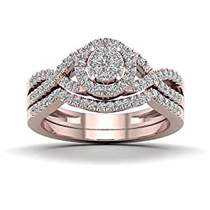 De Couer 10K Rose Gold 1/2ct TDW Diamond Cluster Halo Twist Shank Bridal Set (H-I, I2)
