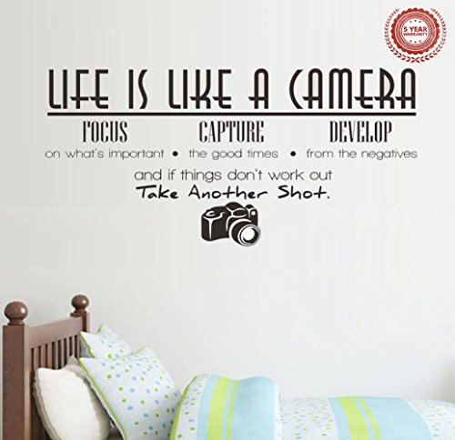 Jiarui Wall Stickers ' Life is Like A Camera ' Vinyl Wall Decal Words Quote Wall Art Sticker Home Decor for Bedroom Living Room 26.77 X 13.78 in (Black)
