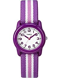 Girls TW7C06100 Time Machines Analog Resin Purple/Pink Stripes Elastic Fabric Strap Watch
