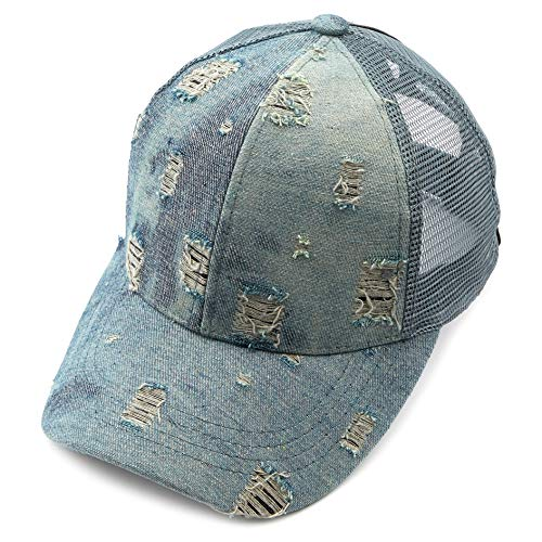 - C.C Hatsandscarf Ponytail caps Messy Buns Trucker Plain Baseball Cap (BT-8) (Vintage Denim)