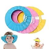 Baby Shower Cap, Shineus Adjustable Waterproof Bath Cap Visor Hat Shower Bathing Protection Soft Cap for Children Baby Kids Set of 3(Pink, Blue, Yellow)