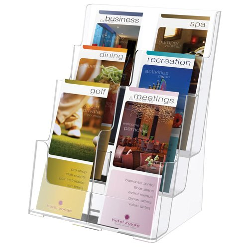 Source One Premium Large 4 Pack 4 Tier Premium Magazine Organizers , Brochure Holder ,Wall Mount or Counter Top Use Clear Acrylic