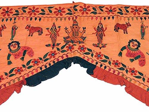 NovaHaat Rust-Orange Hand Embroidered Valance Toran ~ Huge Vintage Kutch Prosperity Doorway Topper Gate with Ganesha and Krishna ~ 77'' L x 58'' W by NovaHaat