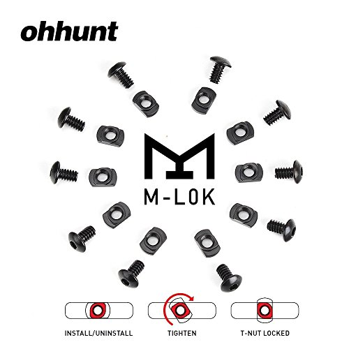 ohhunt Replacement Set 10 Sets Pack Steel M-LOK T-Nut Standard Screw for Rail Sections (10 x Screws and 10 x Nuts)