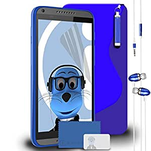 iTALKonline HTC Desire 816 Blue TPU S Line Wave Hybrid Gel Skin Case Protective Jelly Cover with 3 Layer LCD Screen Protector, Re-tractable Mini Stylus Pen and 3.5mm Stereo Hands Free HeadPhones with Mic