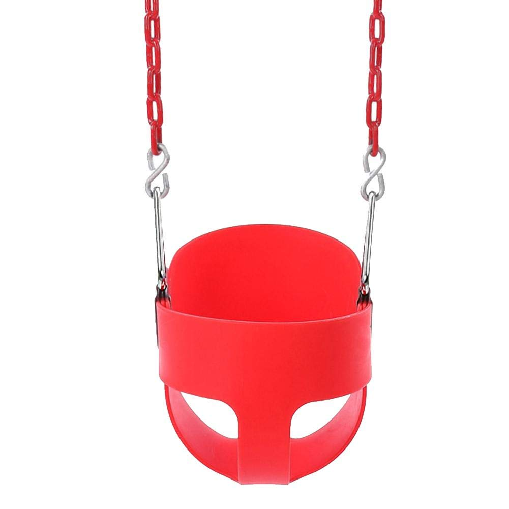 Outdoor Kid's Swing - High Back Full Bucket Toddler Swing Seat with Iron Chains - 10.24 * 15.55 * 10.63 inch