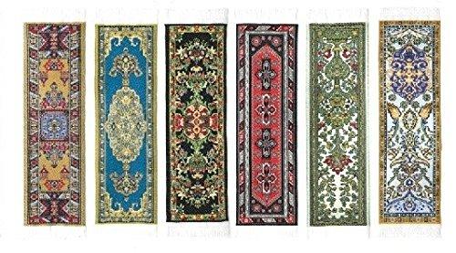 Oriental Carpet Woven Fabric Bookmark - 6 Bookmark Design Collection - Set #2 Beautiful, Elegant, Cloth Bookmarks! Best Gifts & Stocking Stuffers for Men,Women,Teachers & Librarians!