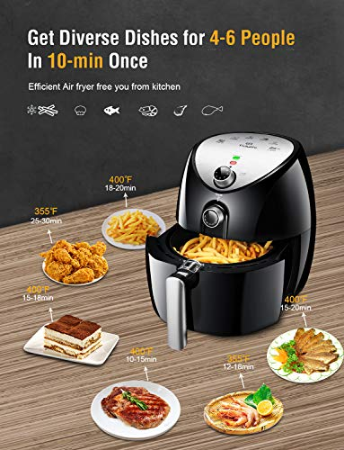 Air Fryer, Tidylife 4.5 Qt AirFryerXL with Smart Time & Temperature Control, 1500W Nonstick Basket HotAirFryer with 50+ Recipes by Tidylife (Image #4)