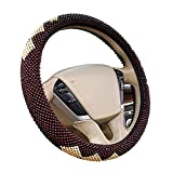 Hsdris Car Steering Wheel Cover Universal 15 inch Wooden Beads Cool Comfortable Suitable for Summer for Cars Trucks SUV Van - B