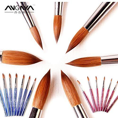 Best Quality - Nail Brushes - New 1pcs #2#4#6#8#10#12#14#16#18#20#22 Kolinsky Sable Brush Acrylic Nail Art Brush Pink Metal Crystal Acrylic Salon - by Robeu -