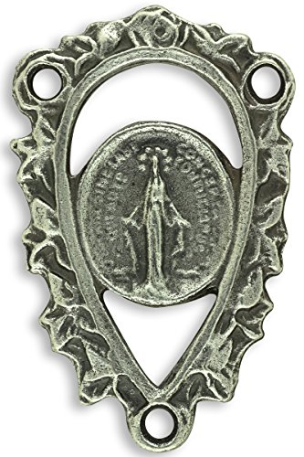 (LOT OF 10 - Ornate Cut-out Miraculous Medal Rosary Centerpiece 7/8