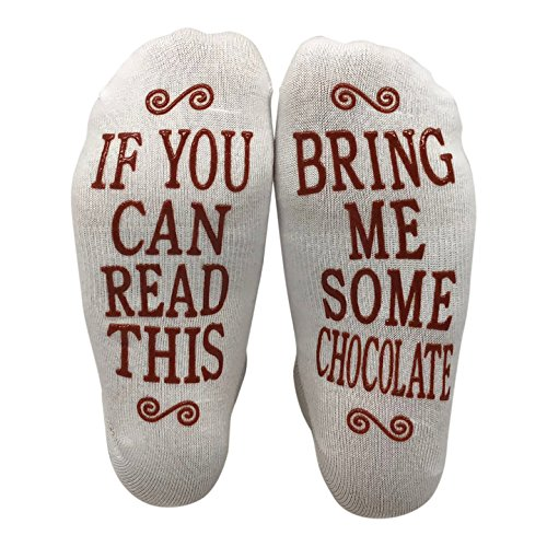 Msquared If You Can Read This Bring Me Some Chocolate Gift Socks - Perfect Hostess or Housewarming Gift Idea, Birthday Present, or Mothers Day Gift for a Chocolate Enthusiast,White,One Size fits most