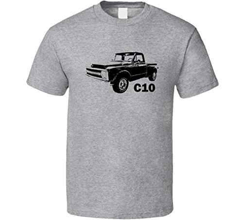 CarGeekTees.com 1970 C10 K10 Pickup Truck Stepside Side View with Model Name Heather Grey T Shirt L Sport Grey