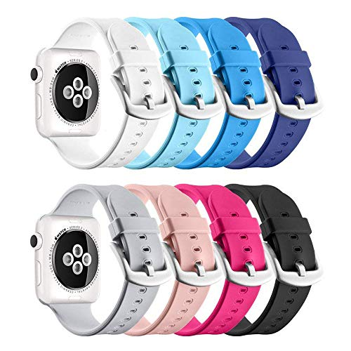UMTELE for Apple Watch Sport Band 42mm 44mm, Soft Silicone Replacement iWatch Bands Sport Strap with Buckle Clasp for Apple Watch Sport Series 4/3/2/1, 8 Pack