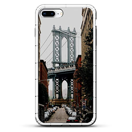 LANDMARKS: MANHATTAN BRIDGE SEETHROUGH | Luxendary Air Series Clear Silicone Case with 3D Printed Design and Air-Pocket Cushion Bumper for iPhone 8/7 Plus ()