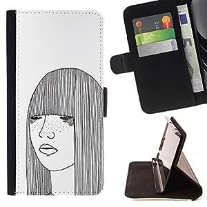 Momo Phone Case / Flip Funda de Cuero Case Cover - Art White Freckles Femme - Samsung Galaxy S3 MINI 8190