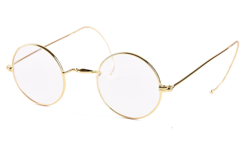 48a9bcc38c Amazon.com  Agstum Retro Small Round Optical Rare Wire Rim Eyeglasses Frame  (Gold