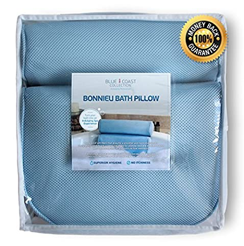 Blue Coast Collection–Bath Pillow for Tub with Konjac Sponge–Large Size for Bathtub, Hot Tub, Jacuzzi, and Home Spa–Non-slip Luxury Support for Head, Neck, Back and Shoulders, 4 Strong Suction