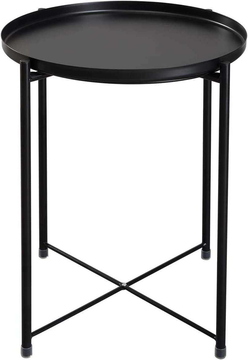 HollyHOME Tray Metal End Table, Sofa Table Small Round Side Tables, Anti-Rust and Waterproof Outdoor Indoor Snack Table, Accent Coffee Table, H 20.28 x D 16.38 , Black