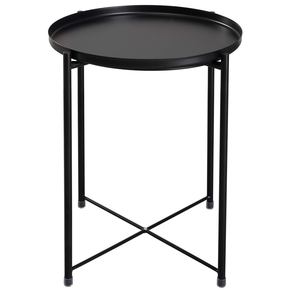 HollyHOME Tray Metal End Table, Sofa Table Small Round Side Tables, Anti-Rust and Waterproof Outdoor & Indoor Snack Table, Accent Coffee Table,(H) 20.28'' x(D) 16.38'', Black by HollyHOME