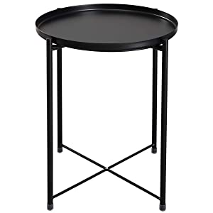 """HollyHOME Tray Metal End Table, Sofa Table Small Round Side Tables, Anti-Rust and Waterproof Outdoor & Indoor Snack Table, Accent Coffee Table, 20.3"""" x11.4""""x16.4"""", Black"""
