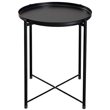HollyHOME Tray Metal End Table, Sofa Table Small Round Side Tables, Anti-Rust and Waterproof Outdoor & Indoor Snack Table, Accent Coffee Table,(H) 20.28  x(D) 16.38 , Black