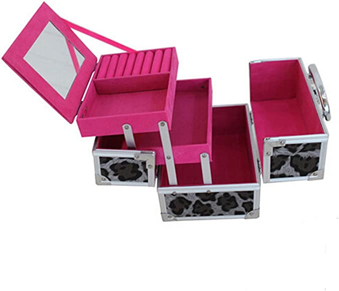 Anone elegante doble abierto PVC de aluminio estuche de maquillaje, joyas caja organizador: Amazon.es: Hogar