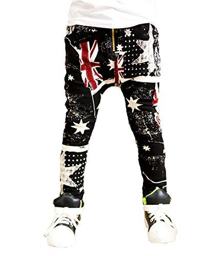 OMSMY Jungen Schneehosen Cowboy-Kreuz-Flagge Modelle der Kinderhosen Kinder Harem lässige Hose Hosen (Plus-warmen Samt) (Höhe 95-100cm(Etikett 110cm))
