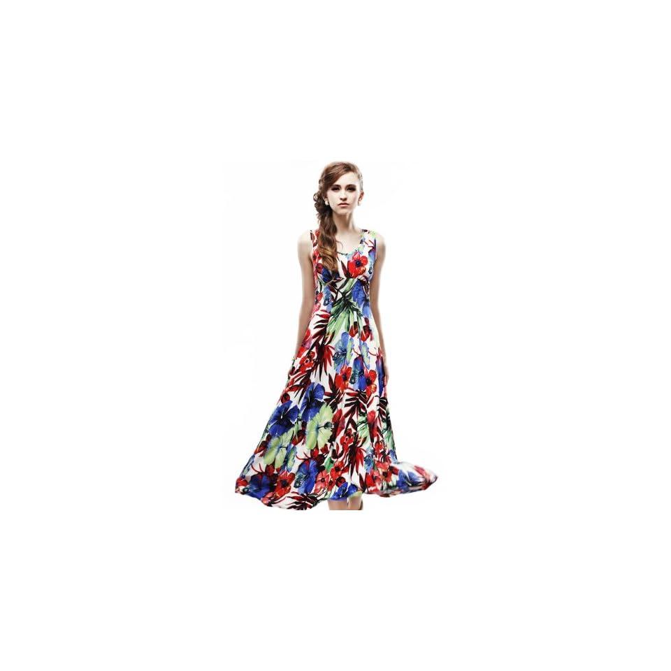 Maxchic Womens Empire Waist Sleeveless Stretch Floral Print Maxi Dress C42243S11M,Green,Medium