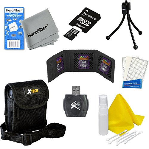 (Accessory Kit for Samsung DV150F 16.2MP Smart Digital Camera - Includes 8 Gigabyte MicroSD High Capacity Memory Card, MicroSD Card Reader/Writer, Protective Digital Camera Carrying Case, Mini Tabletop Tripods, Memory Card Wallet, Lens Cleaning Fluid, Cleaning Cloth, Universal Screen Protectors with Squeegee Card, 5 Cotton Swabs, HeroFiber Ultra Gentle Cleaning Cloth)