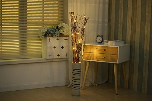 LED Light Up Natural Brown Branch Lights with 6-hour Timer 20LED Natural Willow Twig Branches for Home Decoration Night Light Dual-Power design USB Plug-in and Battery Operated 36inch