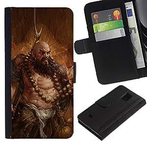 Protector de cuero de la PU de la cubierta del estilo de la carpeta del tirón BY RAYDREAMMM - Samsung Galaxy S5 Mini, SM-G800 - ARTE BARBARIAN