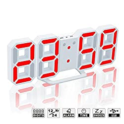 LED Digital Alarm Clock For Desk / Shelf / Tabletop, Modern Home Decoration 3D Wall Clock, Easy To Read at Night, Loud Alarm and Snooze, Big Digit Display (White Frame, Red Light)