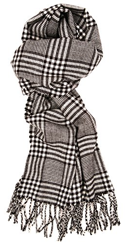 Love Lakeside-Men's Cashmere Feel Winter Plaid Scarf (One, 22B-20 Black and White) (Women Pea Coat Under $50)