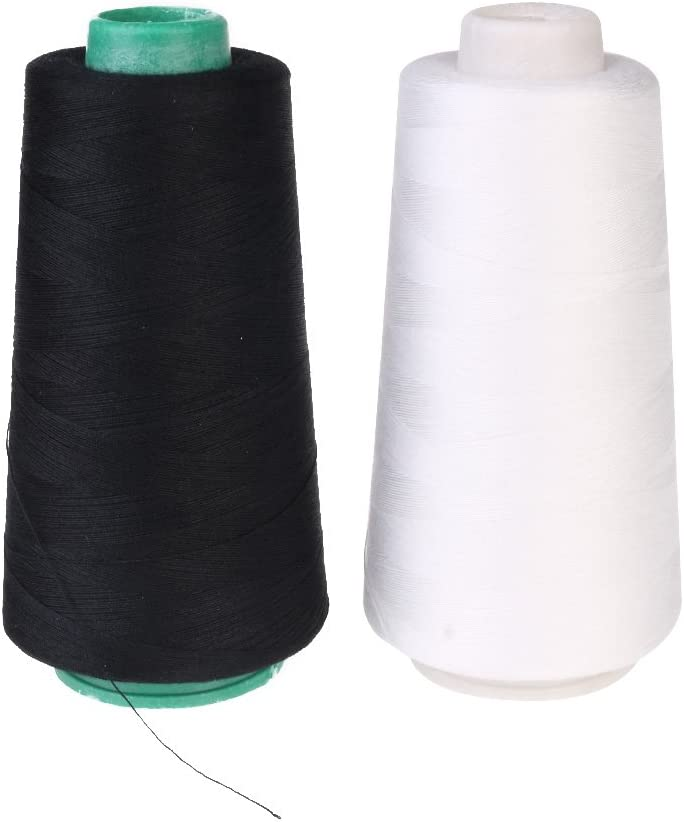 Hilo de coser de 3000 m, blanco y negro, 2 unidades