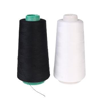 Candora TM 3000 m bobinas de máquina de coser Industrial de poliéster de rosca conos de M 2pcs (blanco y negro): Amazon.es: Hogar