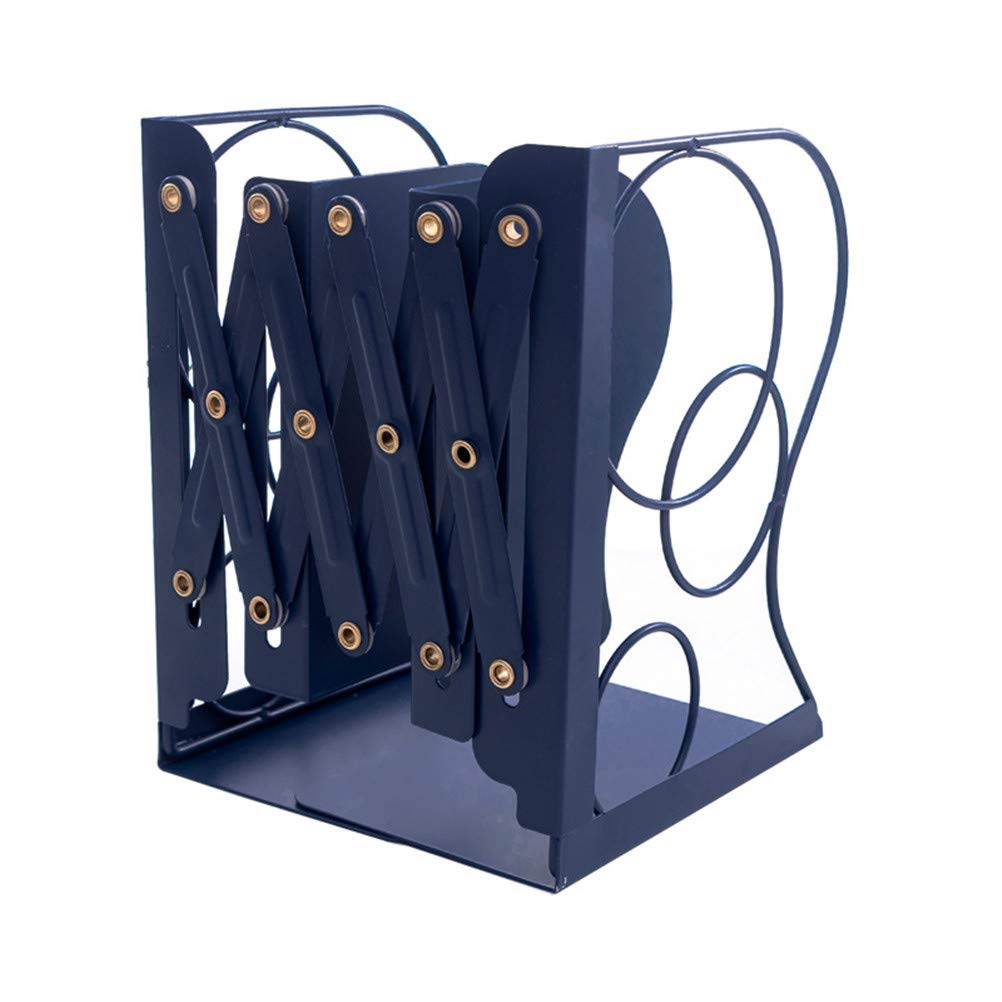 Swing around Book Ends Metal Expansion Book Folder Large Heavy File Separator Rack Desktop Organizer File Storage Box Office School Library,Blue by Swing around