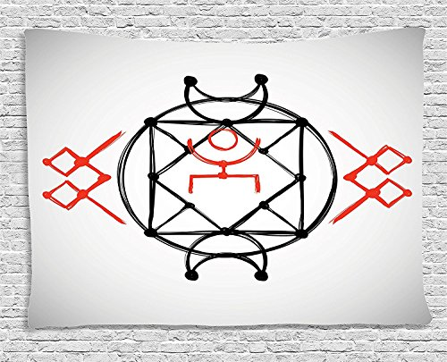 asddcdfdd Sacred Geometrty Decor Tapestry, Ethnic Hand Drawn Square Shaped Tribal Symmetrical Alchemy Figure, Wall Hanging for Bedroom Living Room Dorm, 80WX60L Inches, Rd Black -