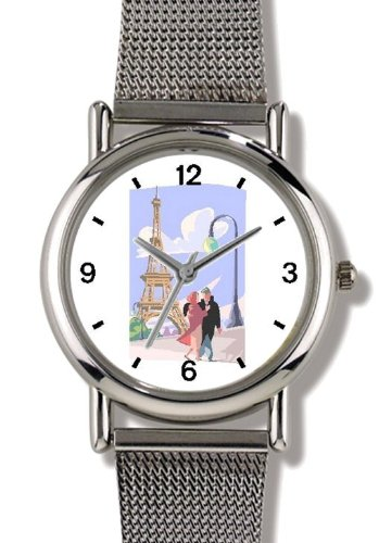 Paris City of Love - Eiffel Tower Paris & France Theme - WATCHBUDDY ELITE Chrome-Plated Metal Alloy Watch with Metal Mesh Strap-Size-Large ( Men's Size or Jumbo Women's Size ) by WatchBuddy