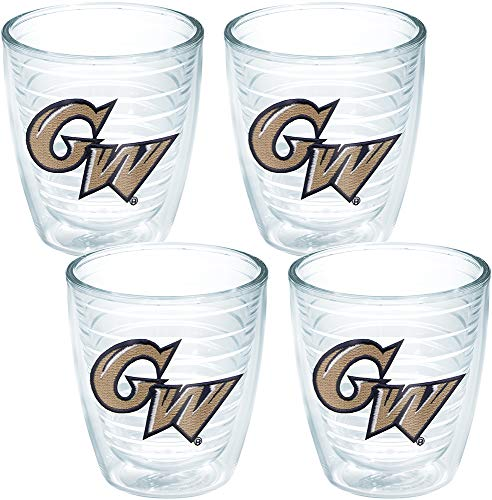 Colonial Saucer - Tervis 1039388 George Washington Colonials Logo Tumbler with Emblem 4 Pack 12oz, Clear