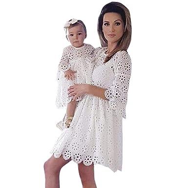 875dd76085d5 OHQ Manches Femme Dentelle AjouréE Robe Parent-Enfant Robe MèRe Enfant  ModèLes Blanc Mom