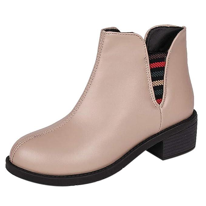 Mymyguoe Botines Mujer Tacon bajo Planos Invierno OtoñO Tacon Ancho Botas Botita Black Friday 3cm Casual Planas Zapatos Ankle Boots Estilo BritáNico Botas ...